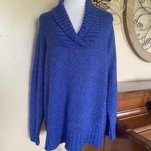 Relativity Size 2X Blue Collared Sparkly Sweater
